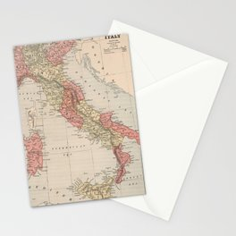 Vintage Map of Italy (1883) Stationery Cards