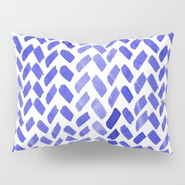 Cute watercolor knitting pattern - blue Pillow Sham