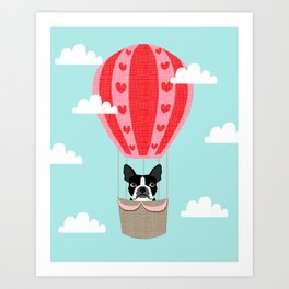Boston Terrier dog breed hot air balloon dog art Art Print