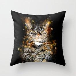 cat like a boss splatter watercolor Throw Pillow