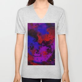 Colour Warfare - Abstract, red, blue, black and purple painting Unisex V-Neck