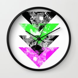Descent - Geometric Abstract In Black, Green And Pink Wall Clock