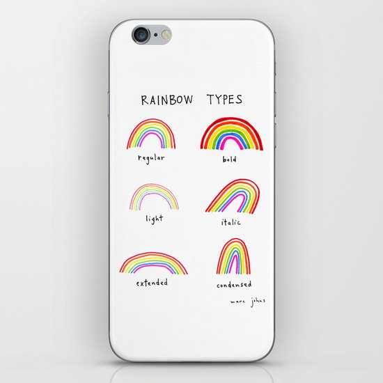 rainbow types iPhone Skin