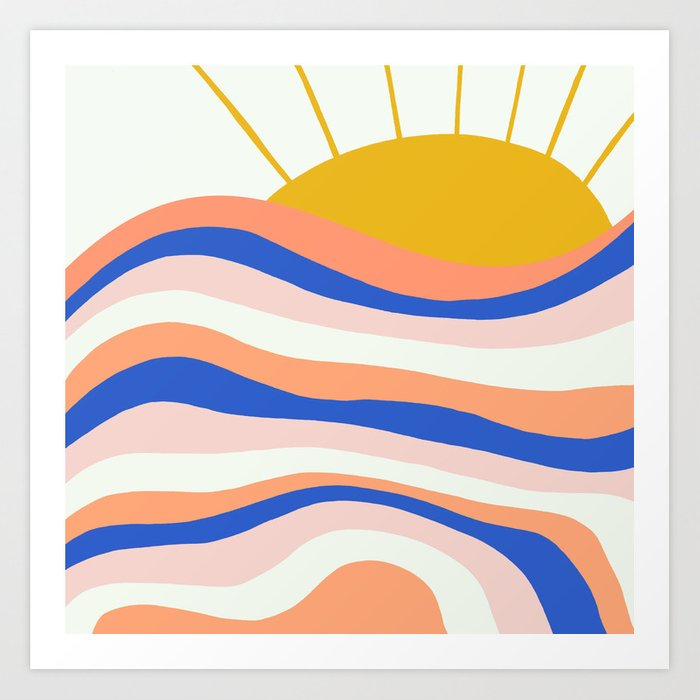 sunrise surf Art Print