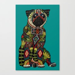 pug love teal Canvas Print