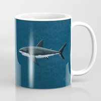 biology Mugs featuring Carcharodon carcharias  ~ Great White Shark by Amber Marine