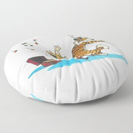 calvin and hobbes dancing with music Floor Pillow