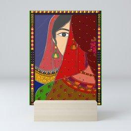Indian Art Girl looking in the Mirror Mini Art Print