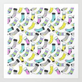 Geometrical tribal pink yellow aqua black christmas socks Art Print