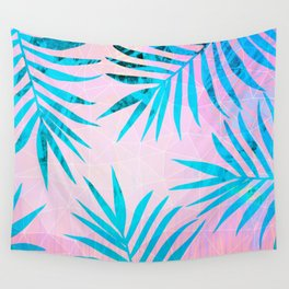 Refreshing Geometric Palm Tree Leaves Tropical Chill Design Wall Tapestry