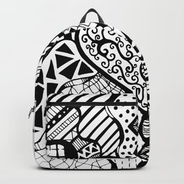 Free Hand Drawn Heart with Random Patterns Backpack