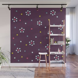 Floral Pattern In Purple And Dots Wall Mural