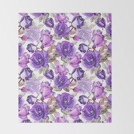 Violet lilac pink watercolor botanical roses floral Throw Blanket