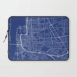 Baton Rouge Map, USA - Blue Laptop Sleeve