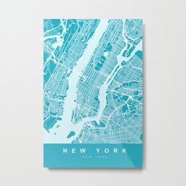 New York Map | Blue & Cyan | More Colors, Review My Collections Metal Print