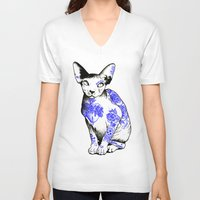 kitty V-neck T-shirts featuring Kitty by Judski