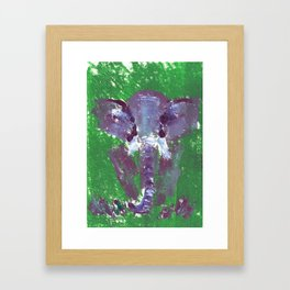 Abstract Elephant Green and Purple Framed Art Print