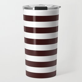 Narrow Horizontal Stripes - White and Dark Sienna Brown Travel Mug