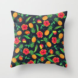 Tropical fruit and flowers Throw Pillow
