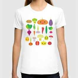 Kawaii vegetables peppers, pumpkin beets carrots, eggplant, red hot peppers, cauliflower, broccoli T-shirt