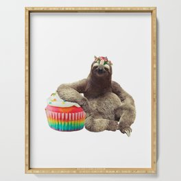 Sloth cupcake collage Serving Tray