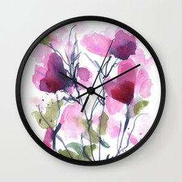 Pink Heart Petals Wall Clock