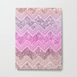 Unicorn Glitter Chevron #2 #shiny #decor #art #society6 Metal Print