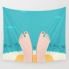 Feet on Beach Wall Tapestry