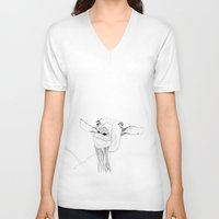 goat V-neck T-shirts featuring Goat by caseysplace