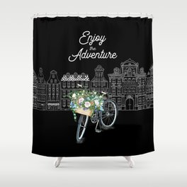 Enjoy the Adventure City and Bicycle on Black Background Shower Curtain