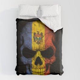 Dark Skull with Flag of Moldova Comforters