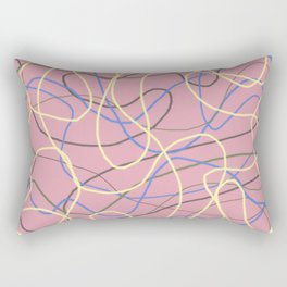 Mad and Crazy Curving Lines on Pink Rectangular Pillow