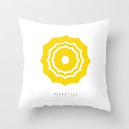 Positano, Italy Umbrella - Yellow Throw Pillow