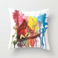 squirrel Throw Pillows featuring Squirrel by Halfmoon Industries