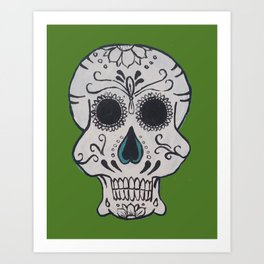 Green Man Sugar Skull Art Print