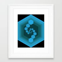 hexagon Framed Art Prints featuring Hexagon by Ubik Designs