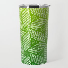 Japanese style wood carving pattern in green Travel Mug