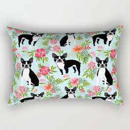 Boston Terrier florals tropical hawaiian print dog breeds custom dog art pet portraits Rectangular Pillow