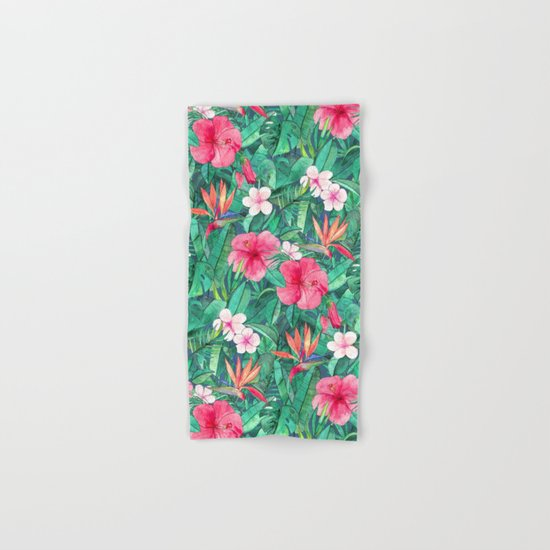 Classic Tropical Garden with Pink Flowers Hand & Bath Towel