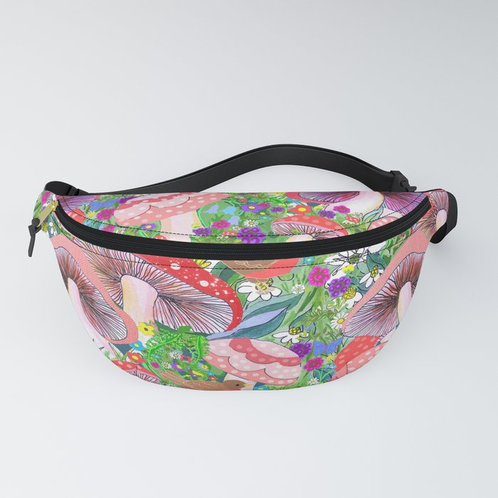 Swedish Toadstool Woodland Robins Floral Fanny Pack