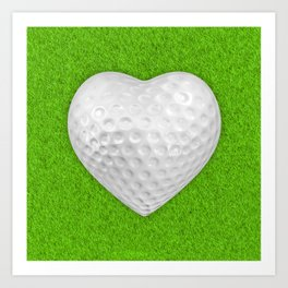 Golf ball heart / 3D render of heart shaped golf ball Art Print