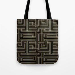 Black and gold art-deco geometric pattern. Tote Bag