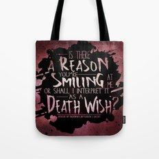 Death Wish quote Design Tote Bag