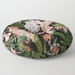 Vintage & Shabby Chic - Botanical Tropical Night Pattern  Floor Pillow