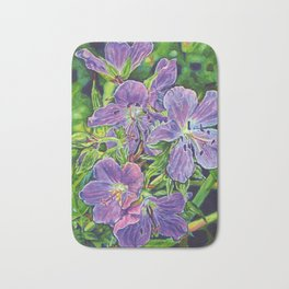 Six Wild Geraniums Bath Mat