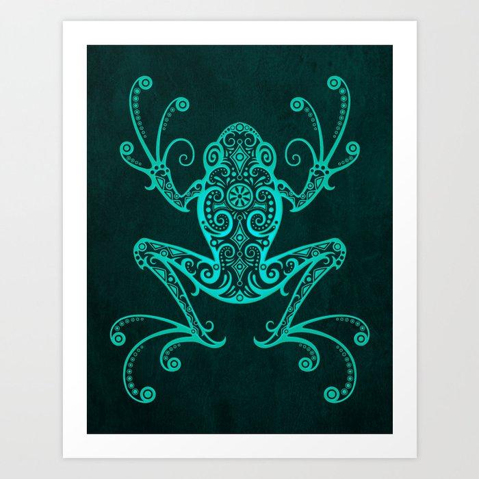 Intricate Teal Blue Tree Frog Kunstdrucke