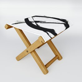 Brushstroke 7: a minimal, abstract, black and white piece Folding Stool