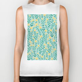 Emerald green and Yellow Minimal Retro Flowers Pattern Biker Tank