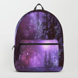 Galaxy Winter Forest Purple Backpack