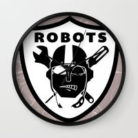 tomb raider Wall Clocks featuring Raider robots by The Dopest Robot